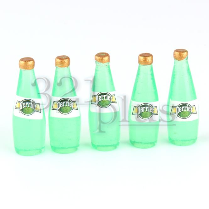 Miniature Milk Bottles Miniature Beverages in Basket Milk bottle Kitchen1:1F qn