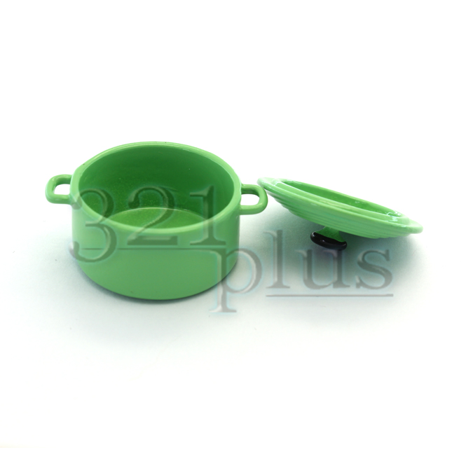 Green miniature cooking pots mini cookware accessories for Perfect kitchen cookware