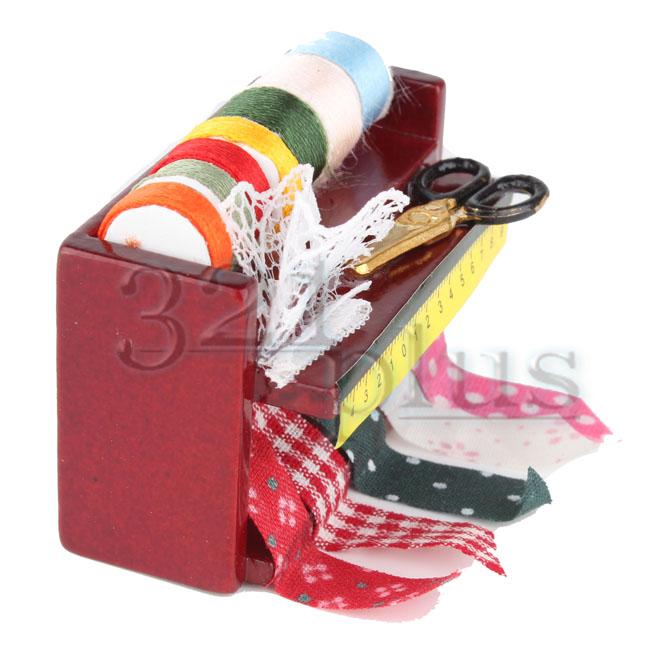 Mini Sewing Rack w// Ribbon Cloth Scissors Fixed Accessory for 1:12 Dollhouse New