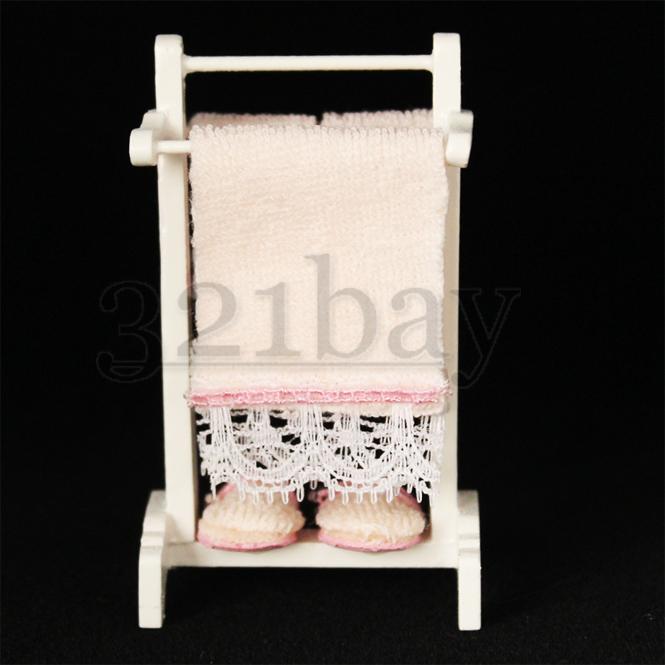 mini handtuch halter f r puppenhaus badezimmer 1 12 handt cher aus holz 1zu12 ebay. Black Bedroom Furniture Sets. Home Design Ideas