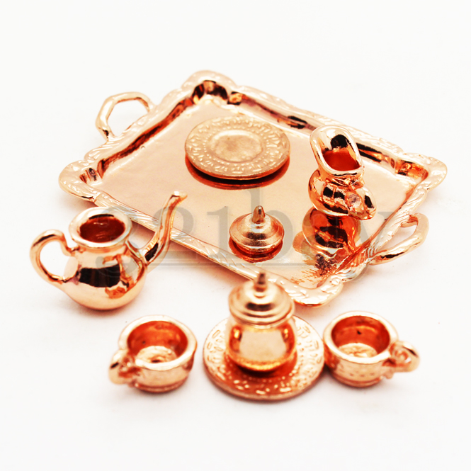 puppenstube puppenhaus miniatur tee geschirr orientalisch 6 teilig kupfern 1zu12 ebay. Black Bedroom Furniture Sets. Home Design Ideas