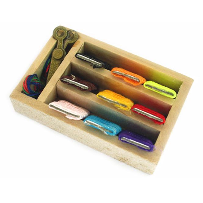 Dollhouse Miniatures Basket W//Thread?Scissors