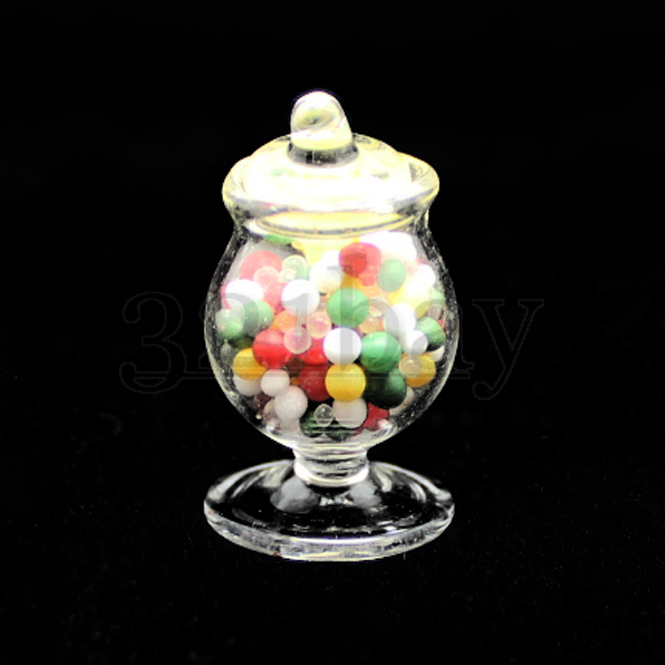 DOLLHOUSE 1:12 LARGE Miniature Glass Front-Opening Cookie//Candy Jar