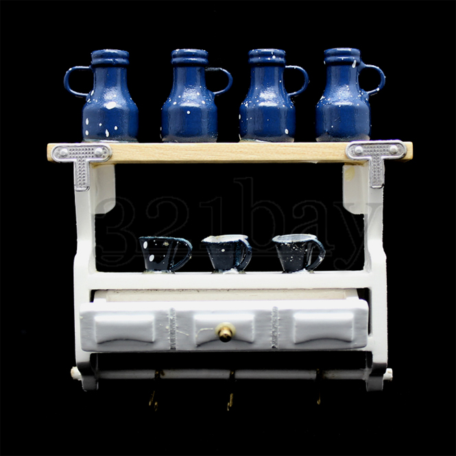 m bel puppenhaus holz regal mit puppenhaus geschirr tassen geschirrregal 1 12 ebay. Black Bedroom Furniture Sets. Home Design Ideas