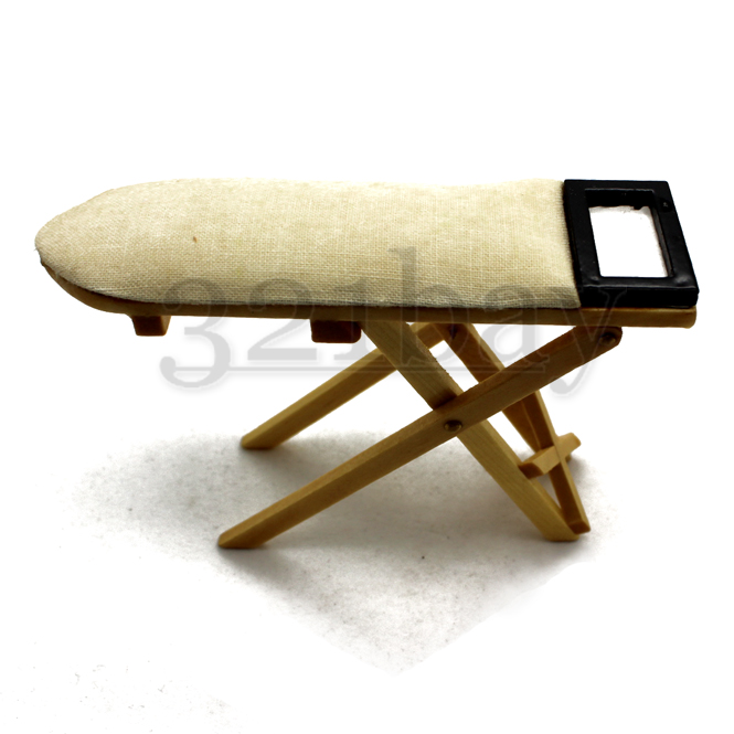 Miniature Ironing Board Dollhouse Wooden 1:12 Board Ironing Cleaning 12th Scale