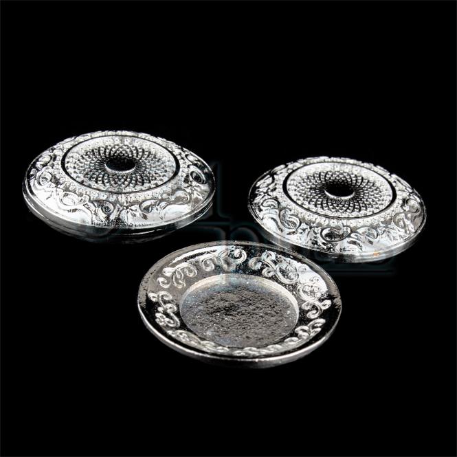2 Stk. Silber Teller Puppenstuben Küche Zubehör Silbergeschirr Rund ...